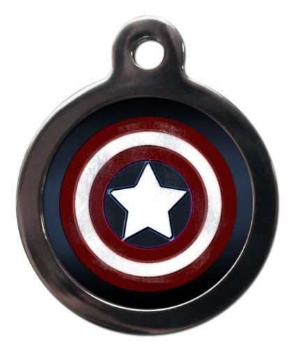 Pet ID Tag  Captain America  Sheild Logo  Personalised tag